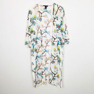 FOREVER 21 Bird Floral Print Kimono S Duster Boho